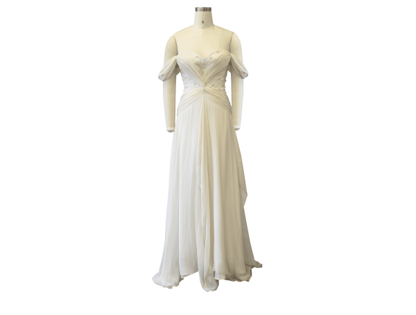 off the shoulder aline gown